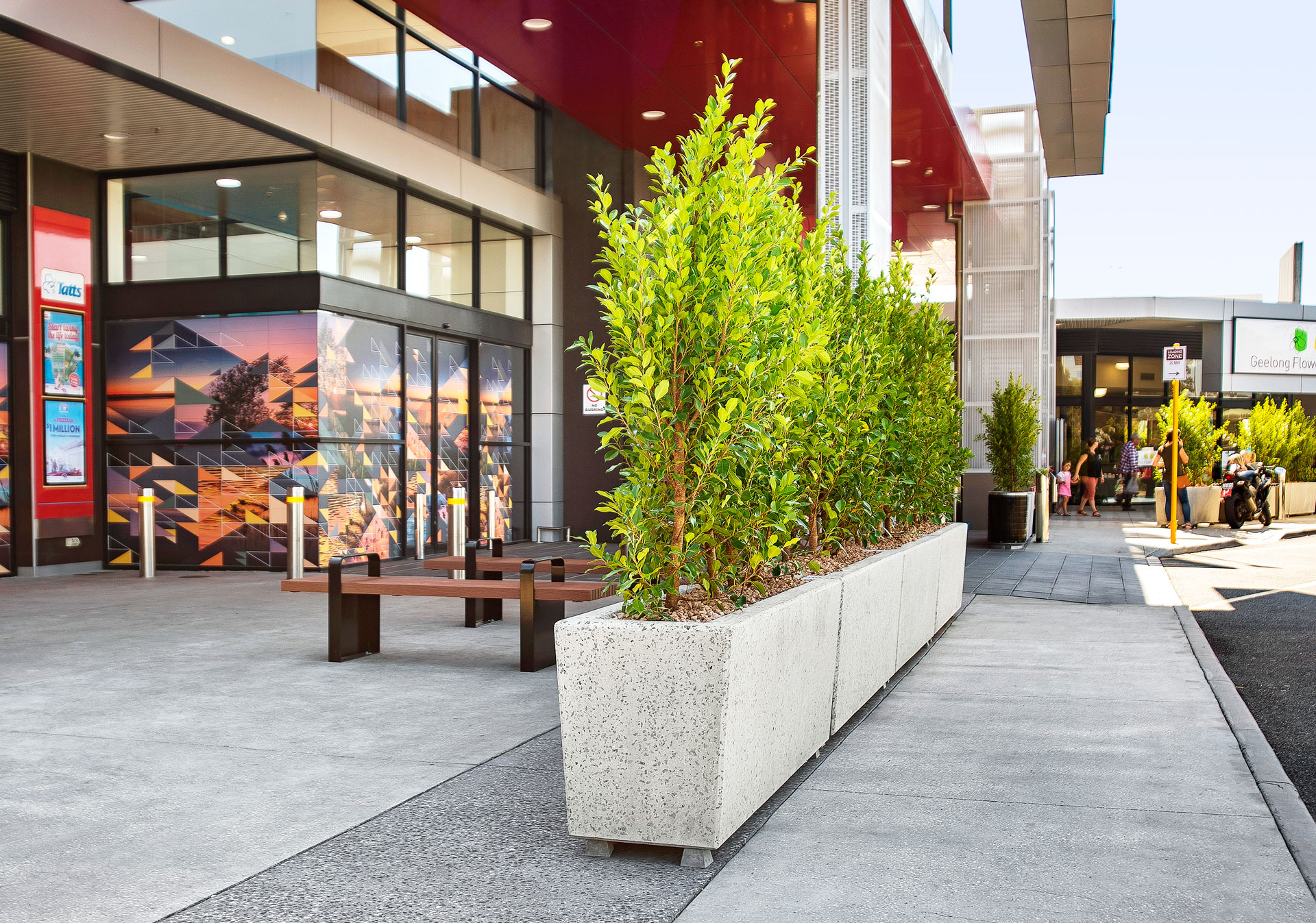 Anston rectangular planters installed outside a shopping centre.