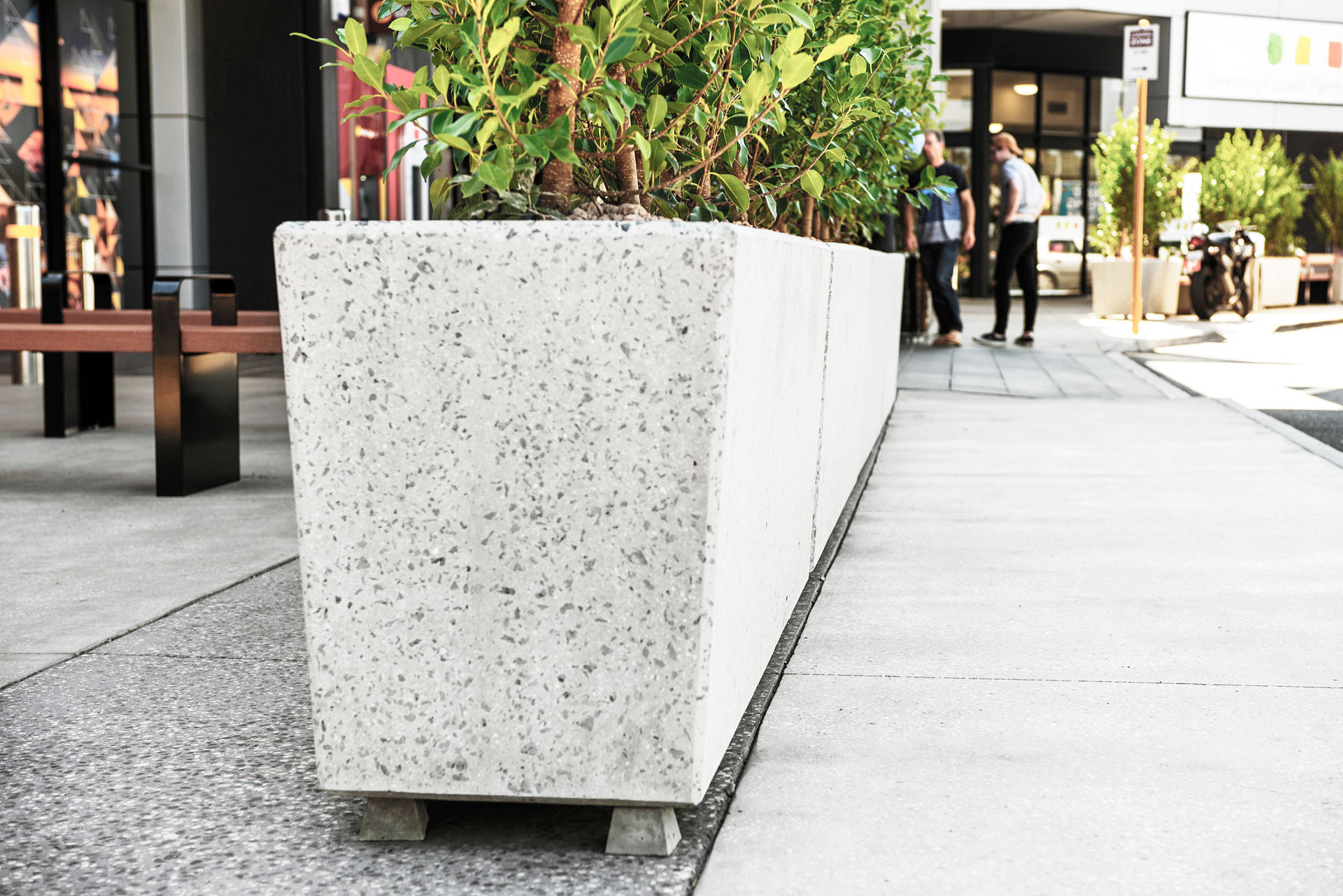 Close-up view of Anston rectangular planters