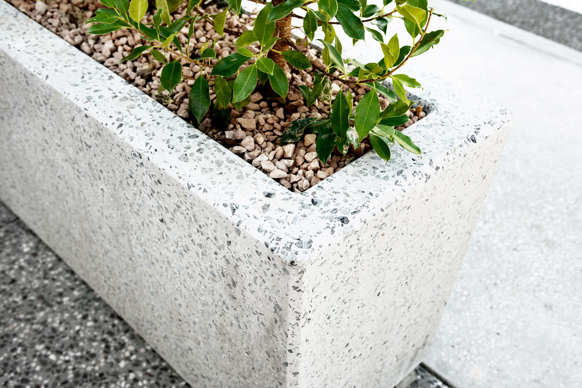 Detail shot of an Anston rectangular planter