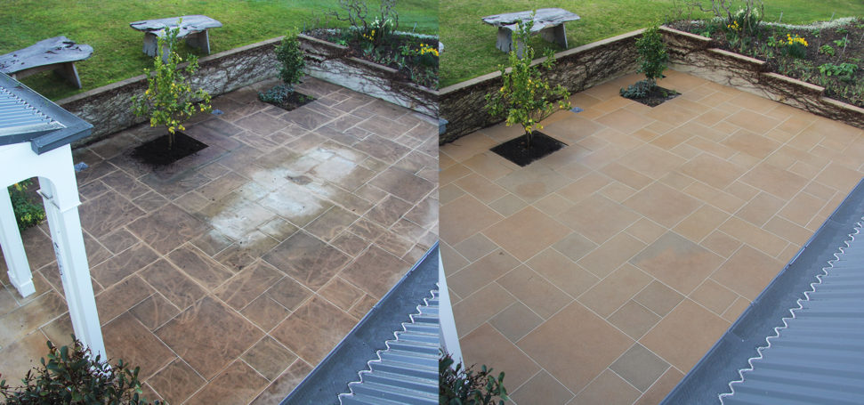 Before and after of a dirty and cleaned courtyard