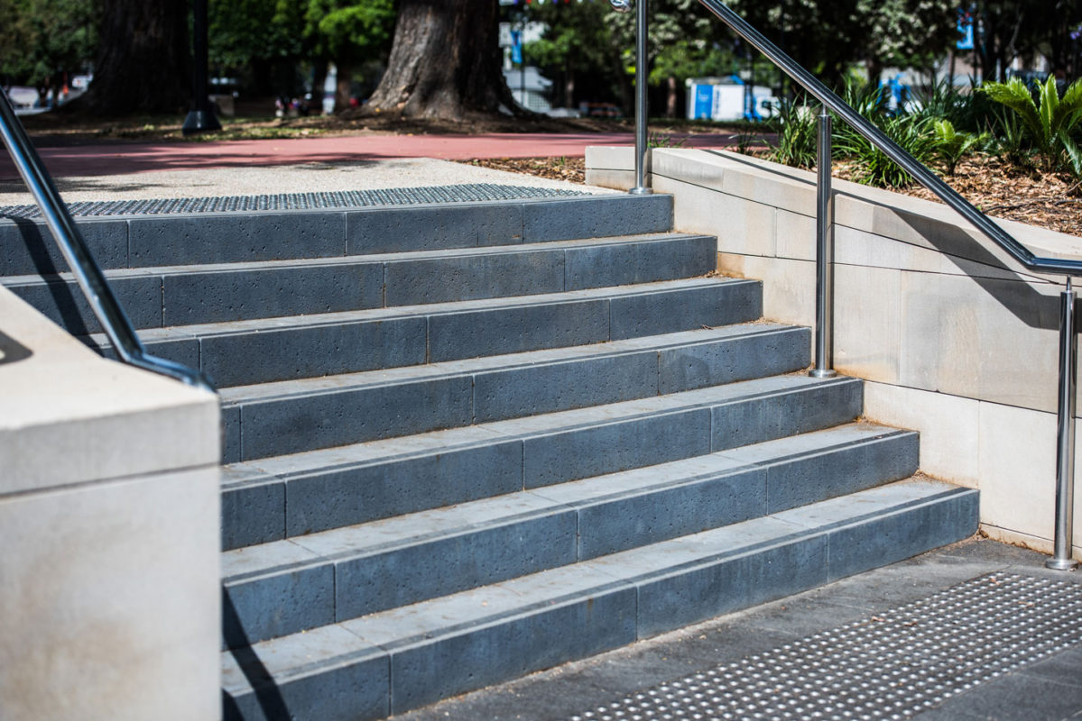 Custom Mimosa stair treads by Anston Architectural, installed in Bigge Park, Liverpool NSW.
