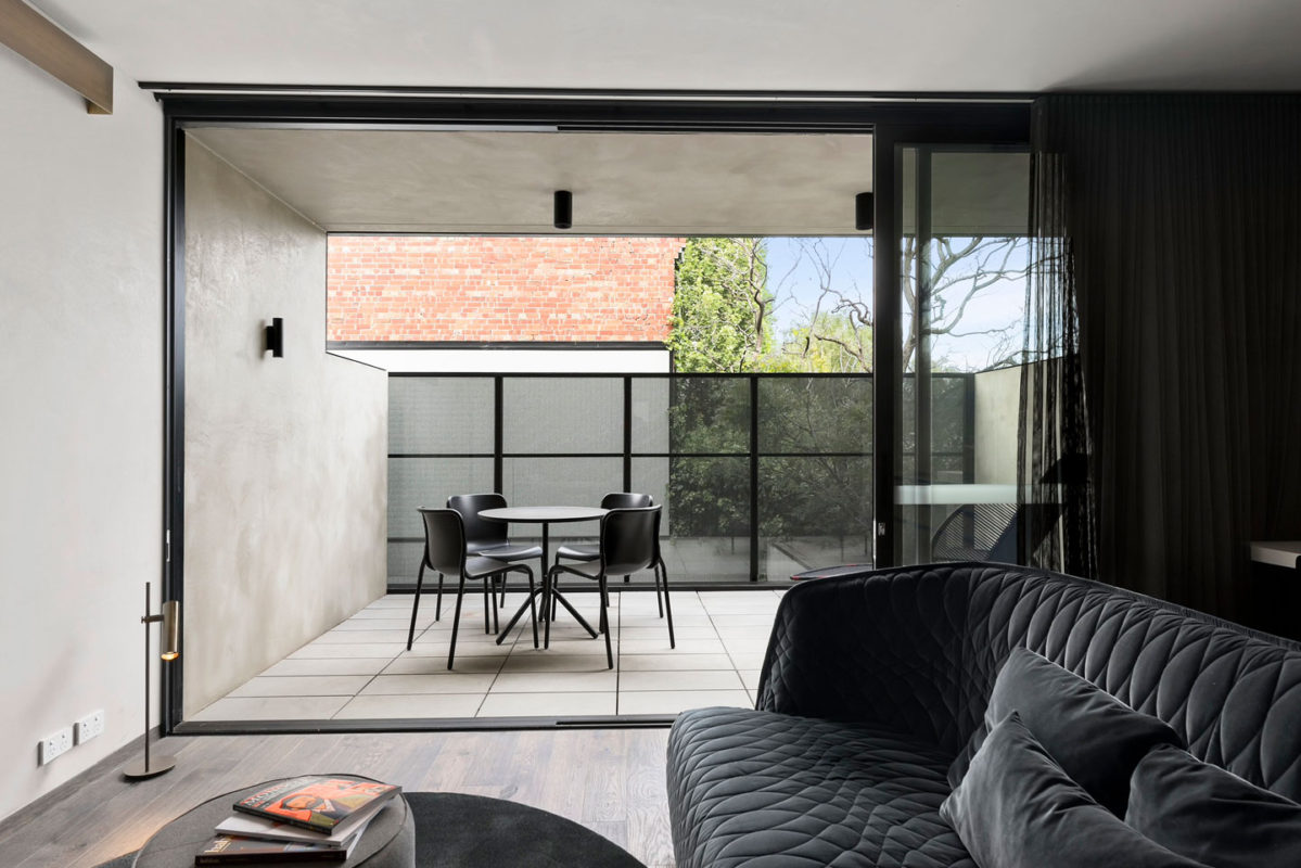 Beautiful Vega concrete paving by Anston Architectural in the private balconies at United Places, Botanic Gardens.